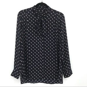 Ann Taylor Polka Dot Button Front Pussy Bow Blouse